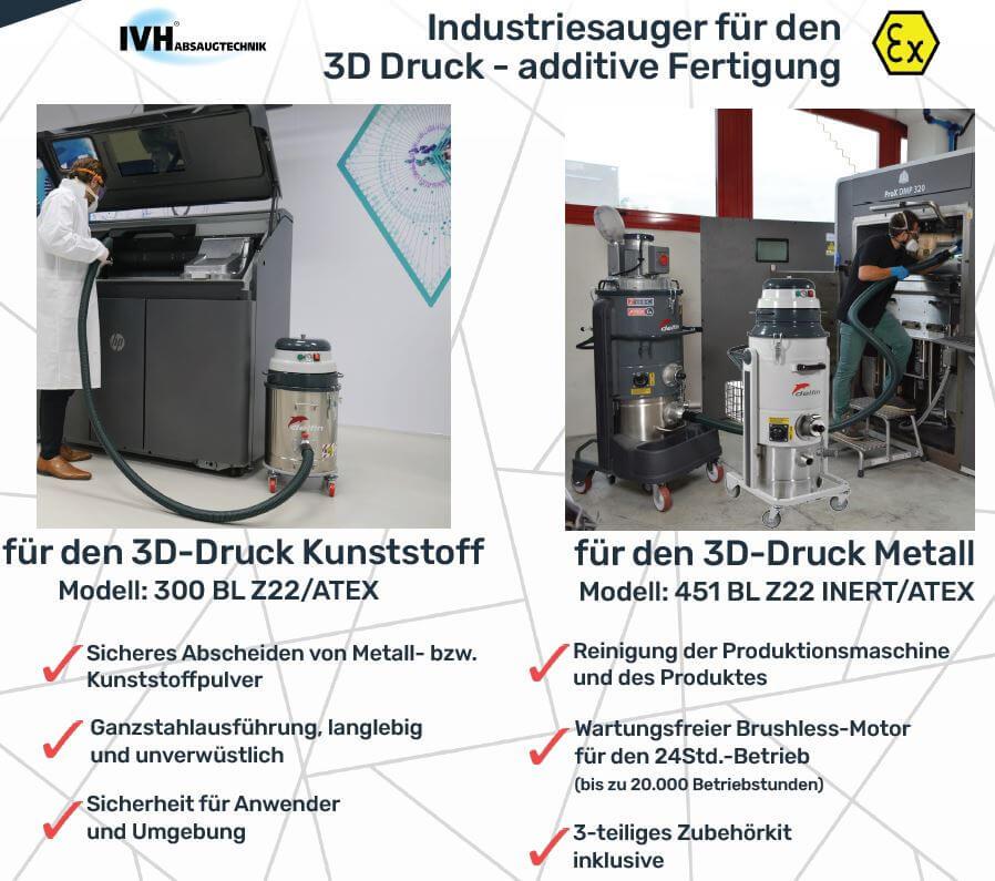 Industriesauger Reinigung 3D-Druck